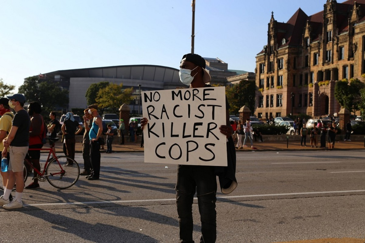 A protester in St. Louis on September 15, 2017