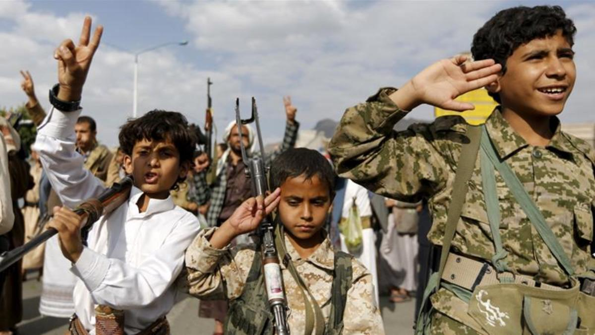 Unprecedented violence in Yemen: A chilling photo from Al Jazeera depicts young Houthi recruits.