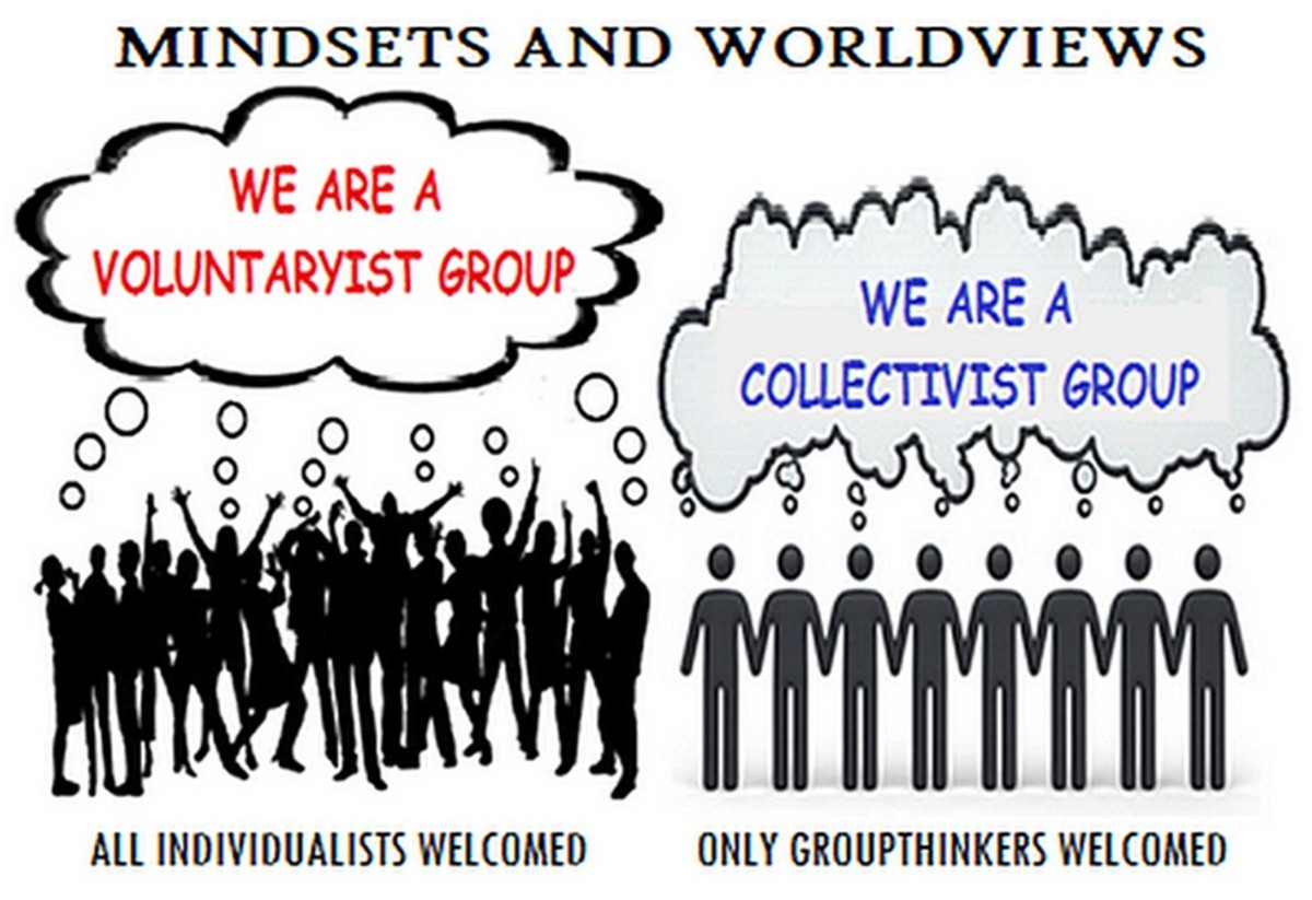 Collectivism, noun, the practice or principle of giving a group priority over each individual in it.  -- Oxford Dictionary