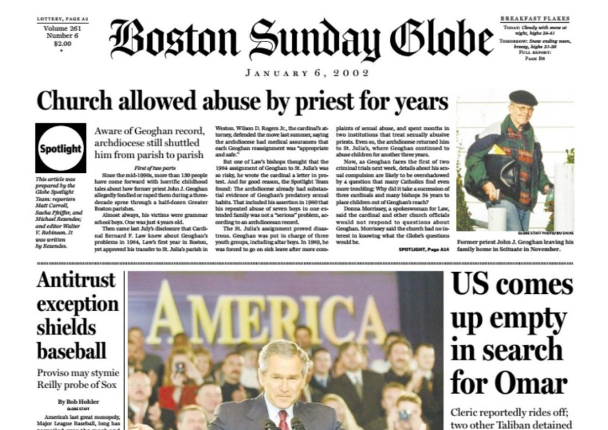 The front page of the Boston Globe on January 6, 2002.