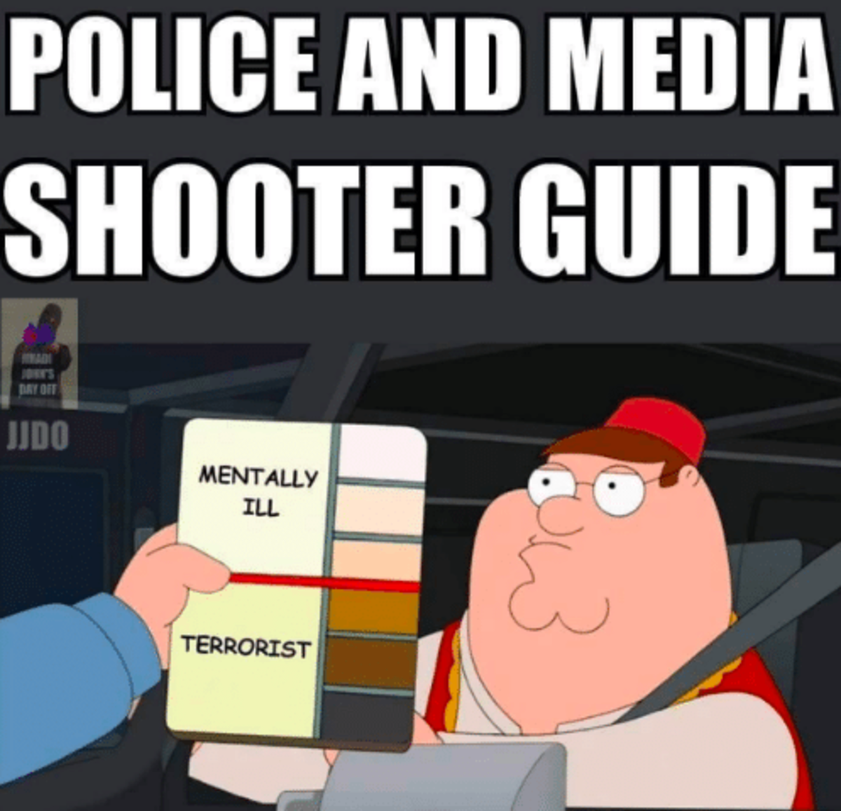 This image, an example of confirmation bias, is often posted on social media when mass shootings occur