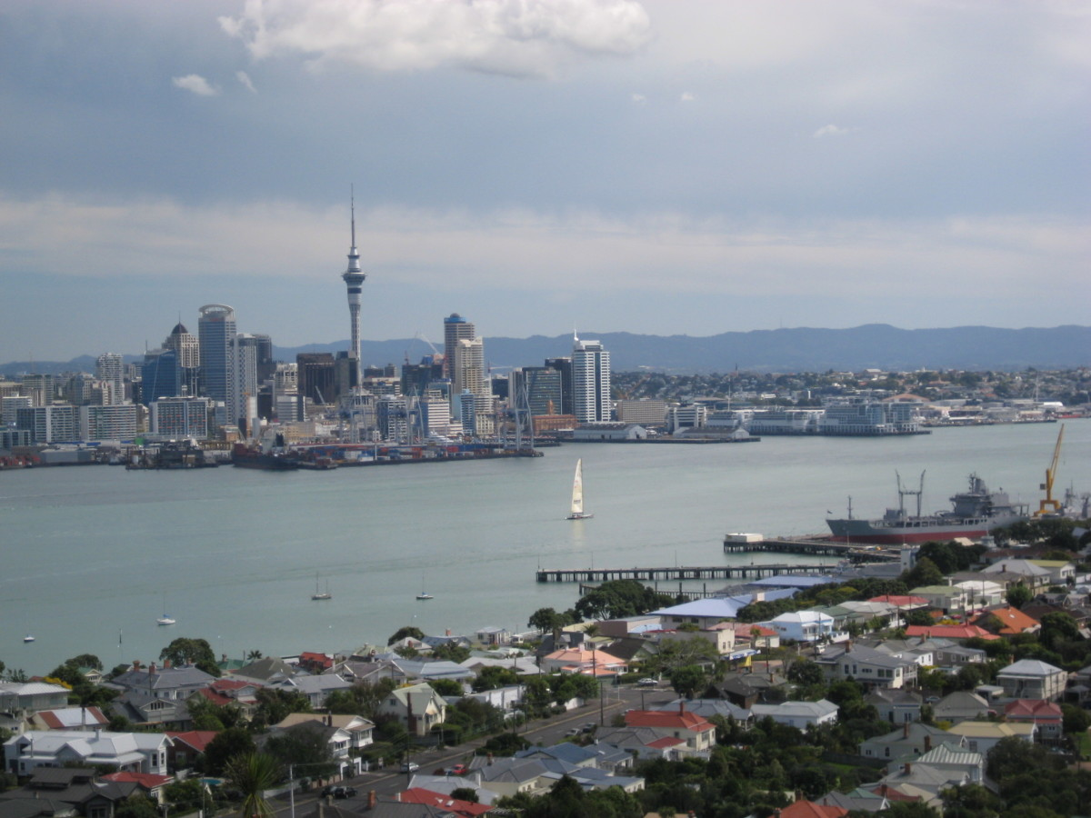 Auckland (as seen from Devonport), the largest urban area in New Zealand