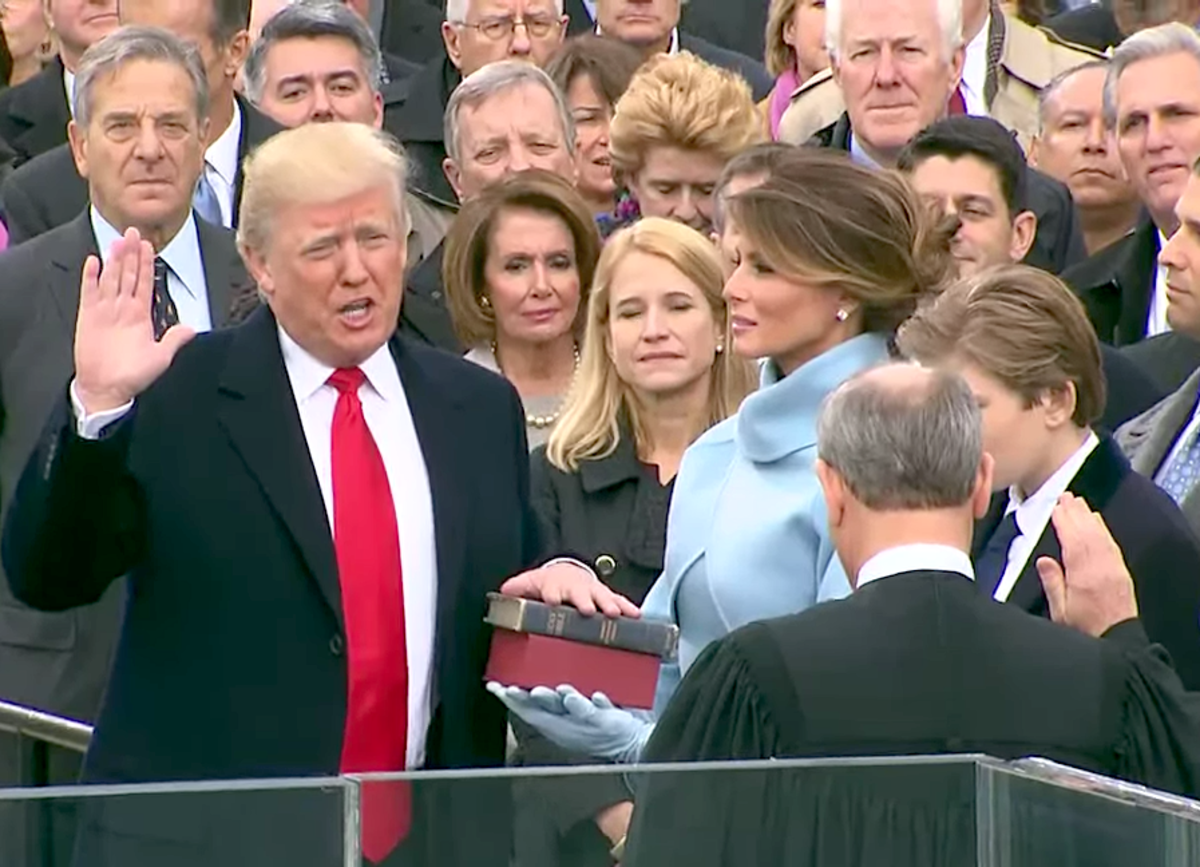 Donald Trump, with his family by his side, being sworn in as the 45th president of the United States by Chief Justice of the United States John G. Roberts, Jr. in Washington, D.C., January 20, 2017.