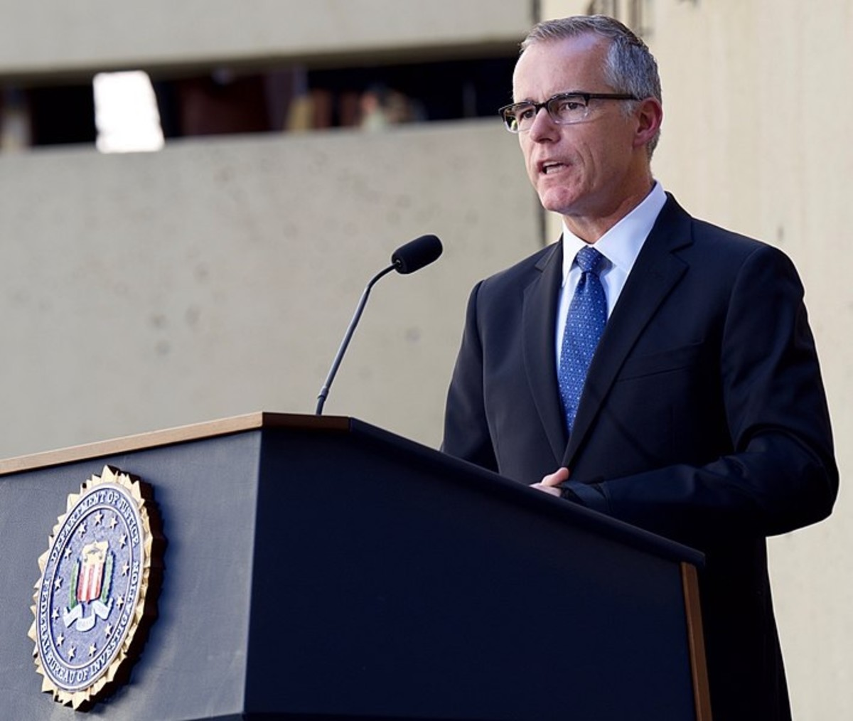 Andrew McCabe at FBI Director Christopher Wray's installation proceedings, on September 28, 2017.