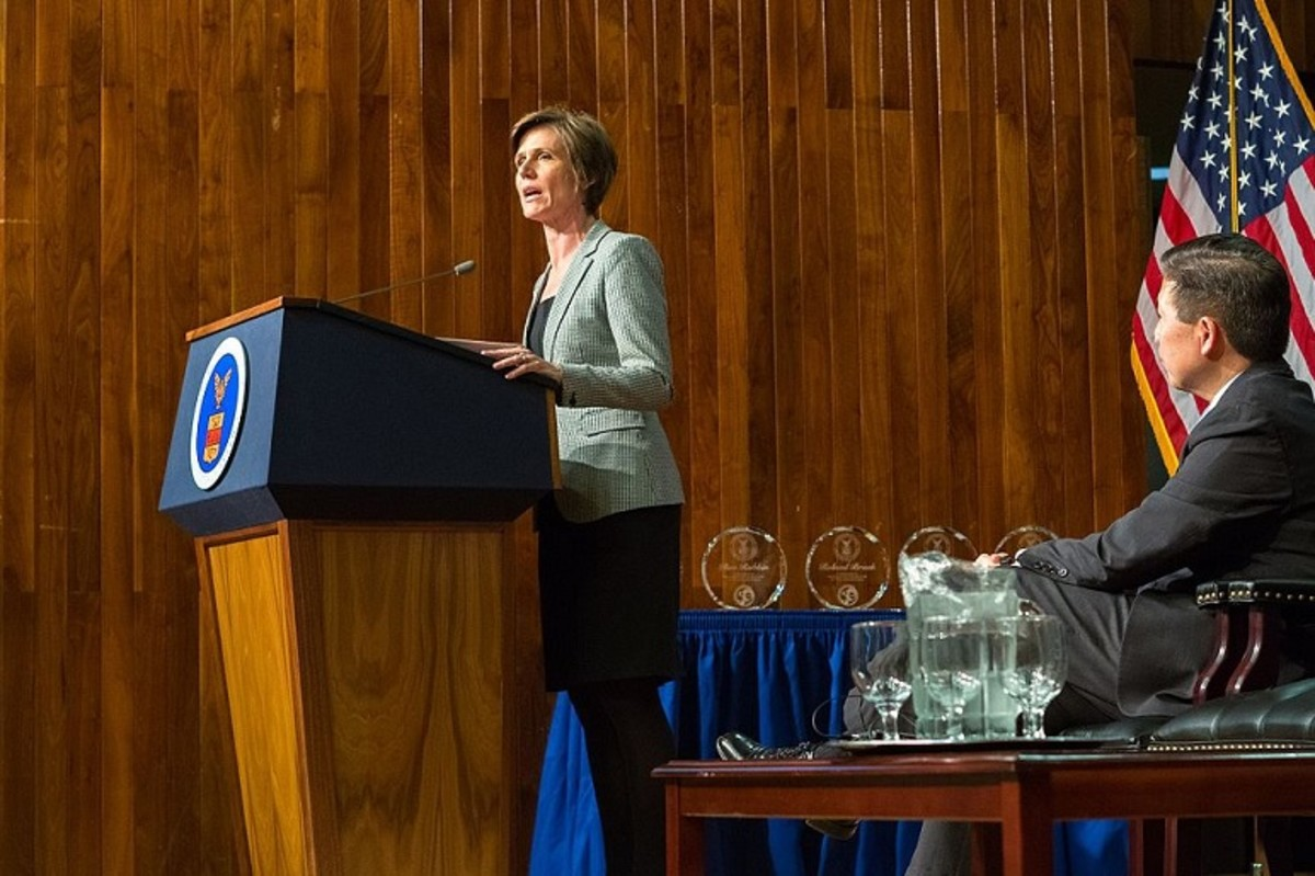 Then-Deputy Attorney General Sally Yates speaks in Washington, D.C., on April 29, 2016.