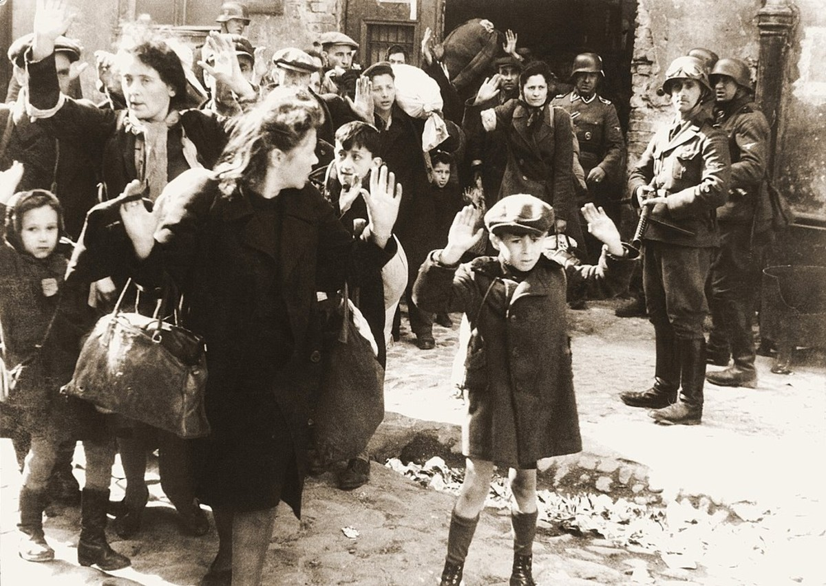 """Jews captured by Germans during the Warsaw Ghetto Uprising, May 1943"""