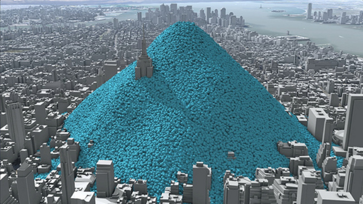 New York City's daily emissions of carbon in one-tonne spheres.