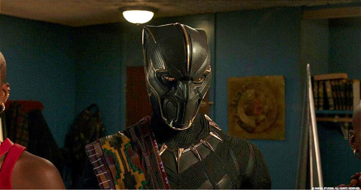 From Marvel Studios. T;Chaka in his armor when confronting his brother.  While he is shown to be a good man, as king his loyalty was to Wakanda alone and not any other Black communities across the world.