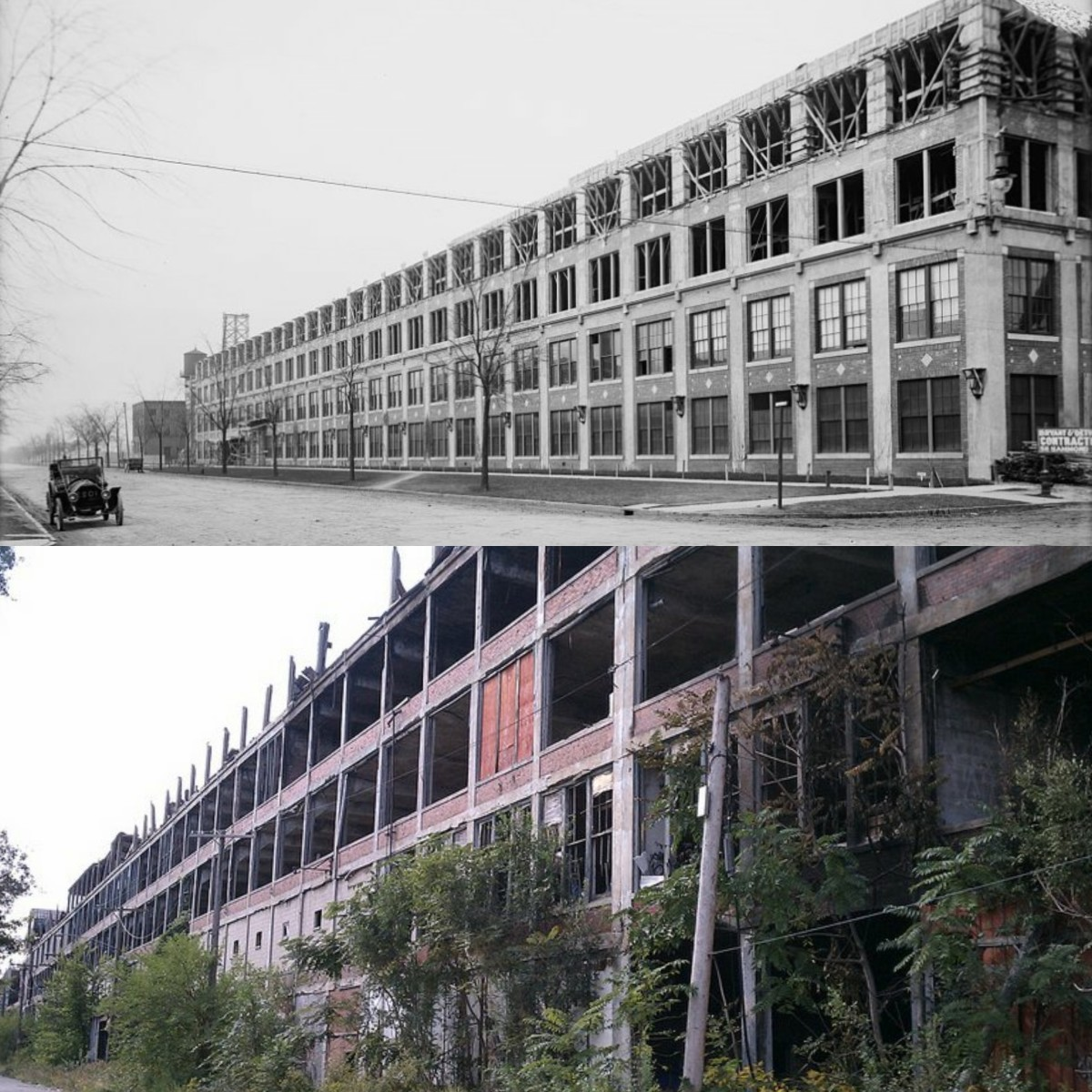 The Packard Factory in 1904 vs. 2012.