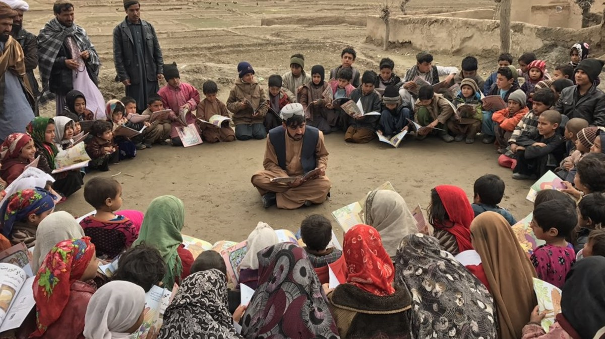 Matiullah Wesa, man on a campaign to reopen schools across Afghanistan, gives free open-air classes.