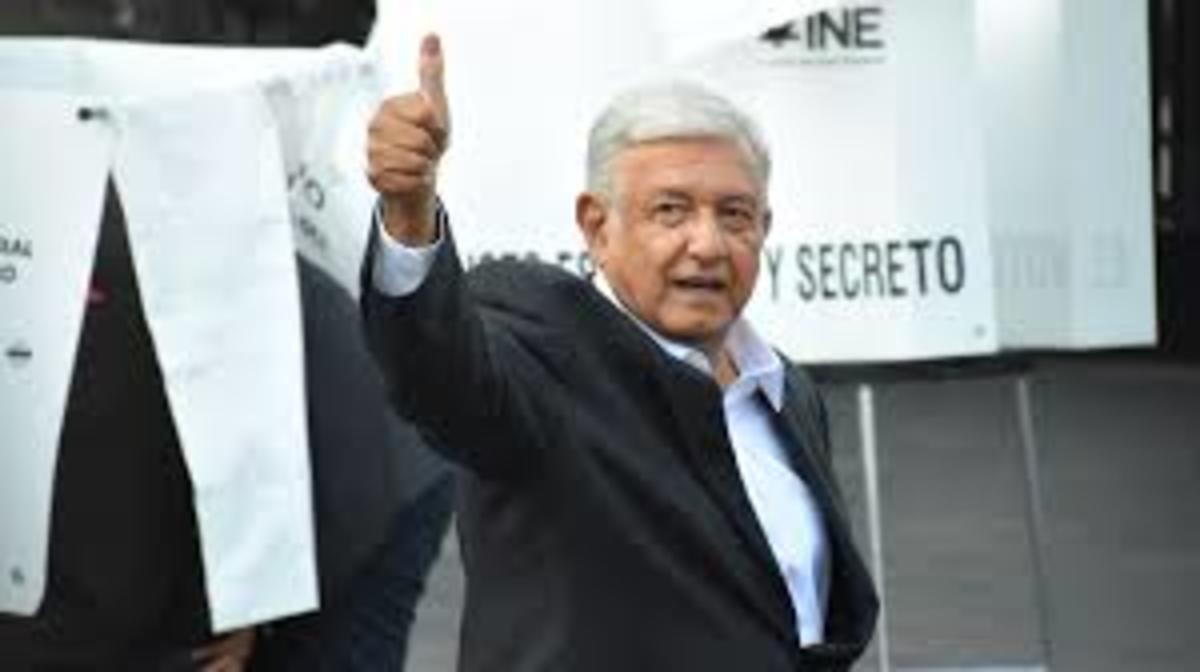 Lopez Obrador is photographed after having voted on July 1st, 2018.