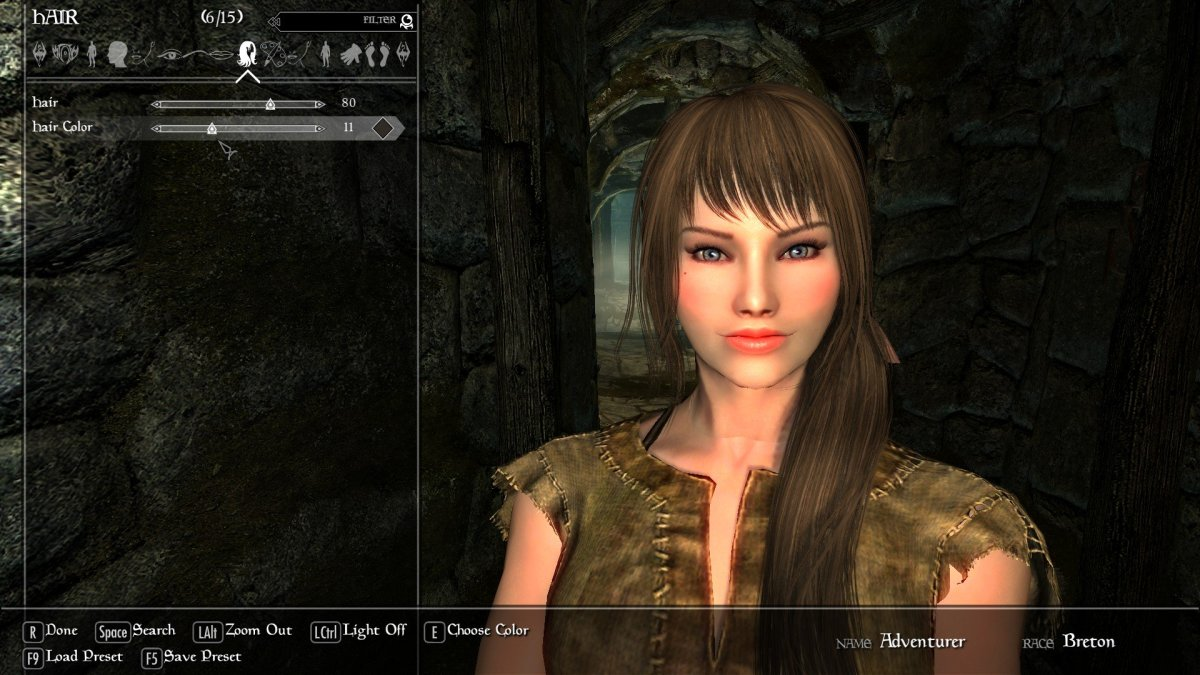 A beautiful Player Character, created using a variety of high resolution Skyrim mods.