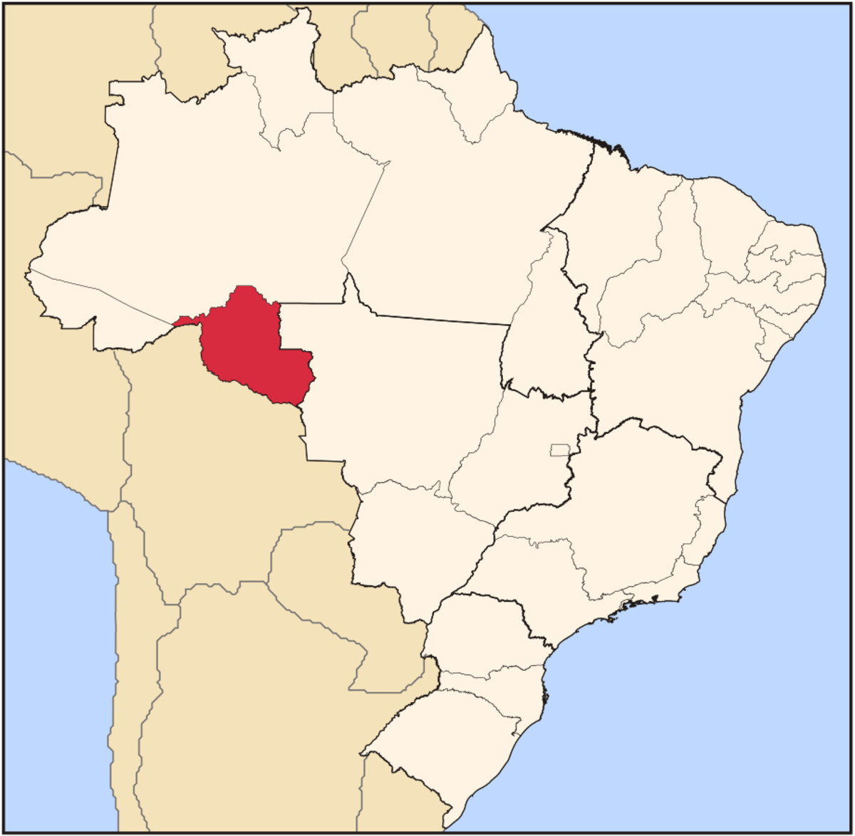 Rondonia is in red.