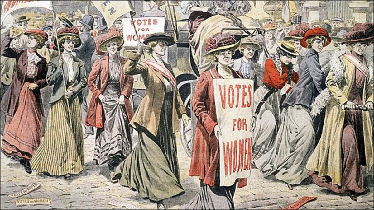 Women Hold Signs in Favor of Votes for Women