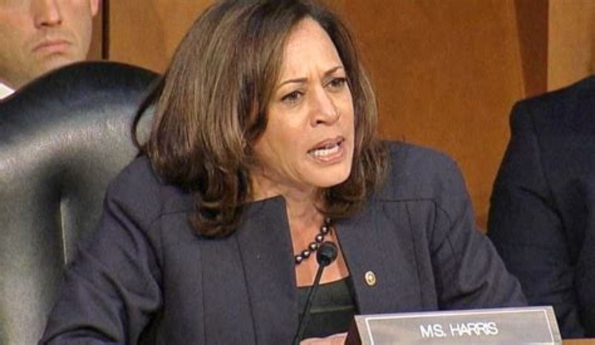 Kamala Harris serving on Senate Judiciary Committee.