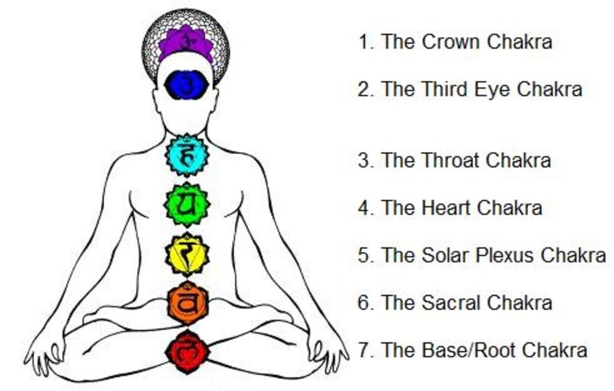 The seven major chakras and their positions in the body.