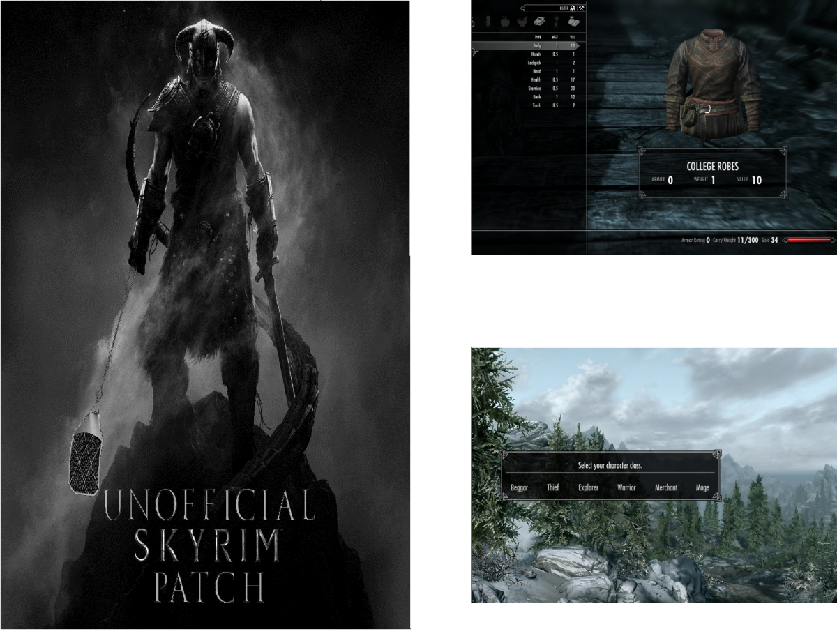 The Unofficial Skyrim Patch (left), Sky UI in game screenshot (top right) and Skyrim Unbound in game (bottom right). In game  Skyrim screenshots courtesy of Zenimax and Bethesda.