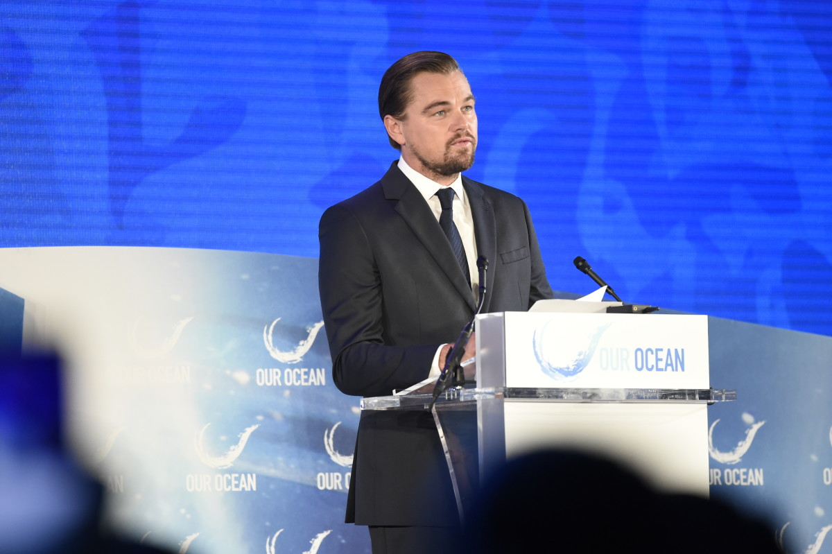 Leonardo DiCaprio addressing the third Our Oceans conference in Washington, 2016.