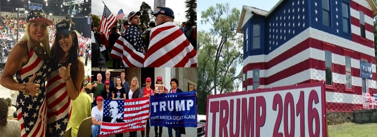 Trump supporters draped in the American flag