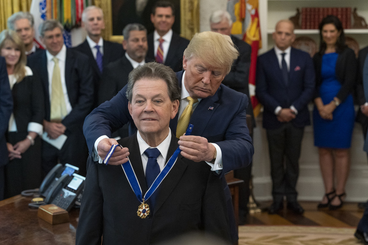 Arthur Laffer, father of the Laffer Curve and Influential American Economist receiving Presidential Medal of Freedom from President Donald Trump at White House on June 19, 2019.