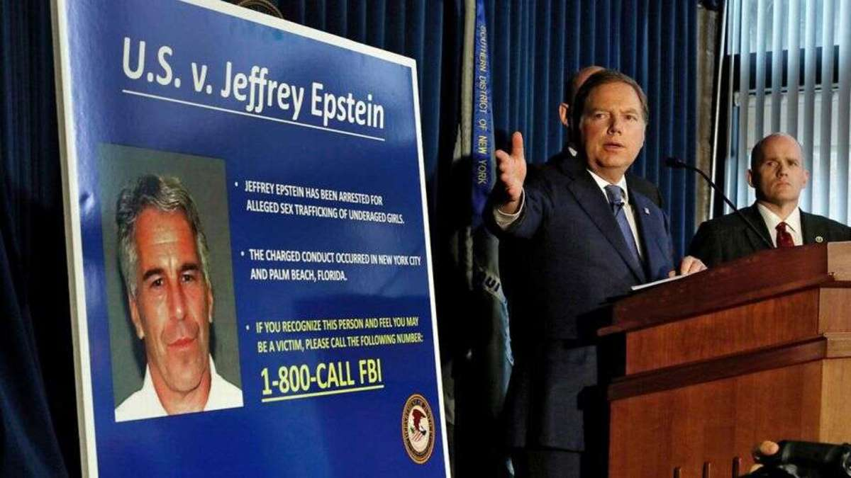 FBI press conference announcing the July 6, 2019 arrest of Jeffrey Epstein on child trafficking charges.