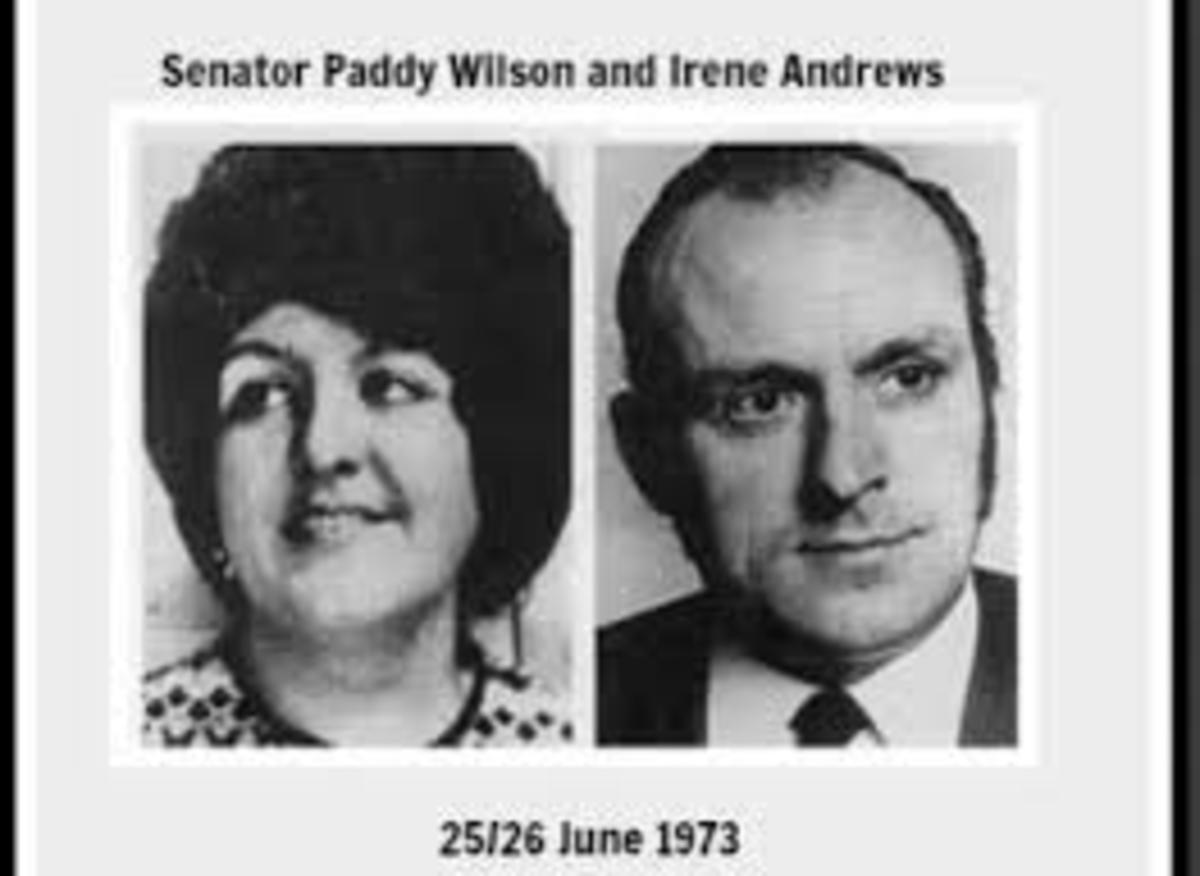 Senator Paddy Wilson and Irene Andrews who suffered over 60 knife wounds when murdered by a UDA death-squad.