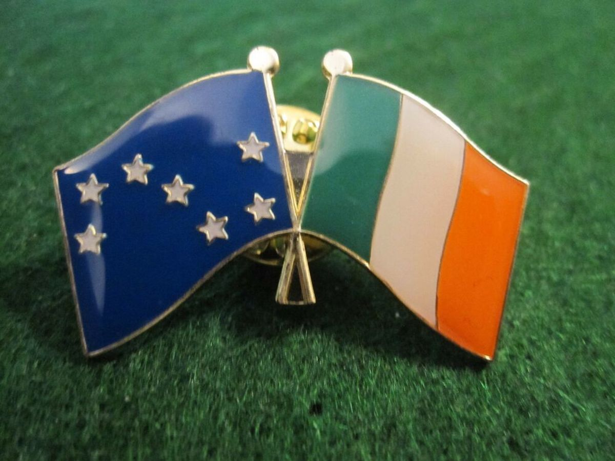 A crossed Starry Plough and Irish flag pin badge.