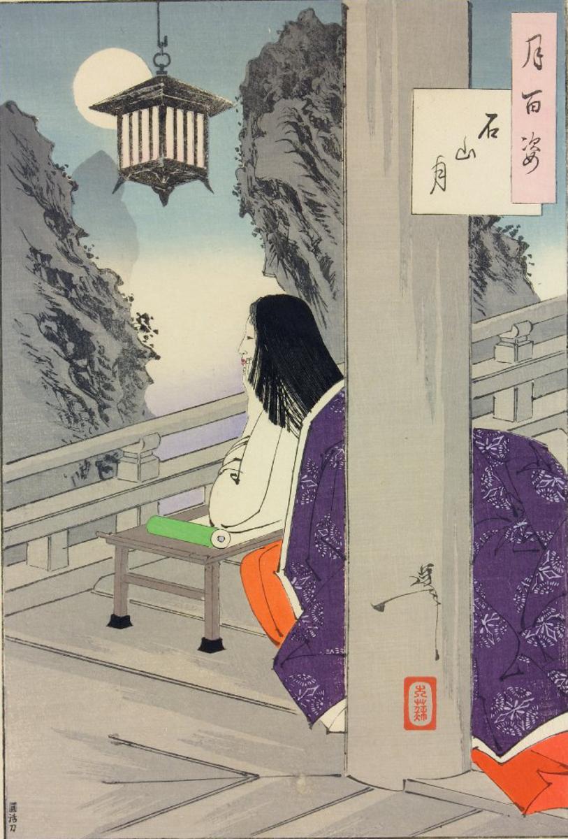 An illustration of Murasaki at Ishiyama-dera by Yoshitoshi (1889)