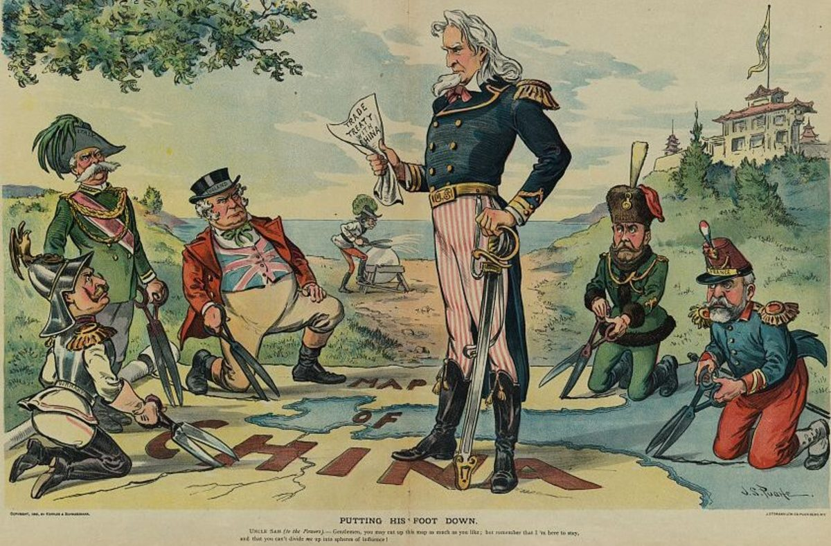 Lithograph: Putting his foot down (ca. 1899); work by J.S. Pughe; property of U.S. Government courtesy of Wikimedia Commons. Work is in the public domain.