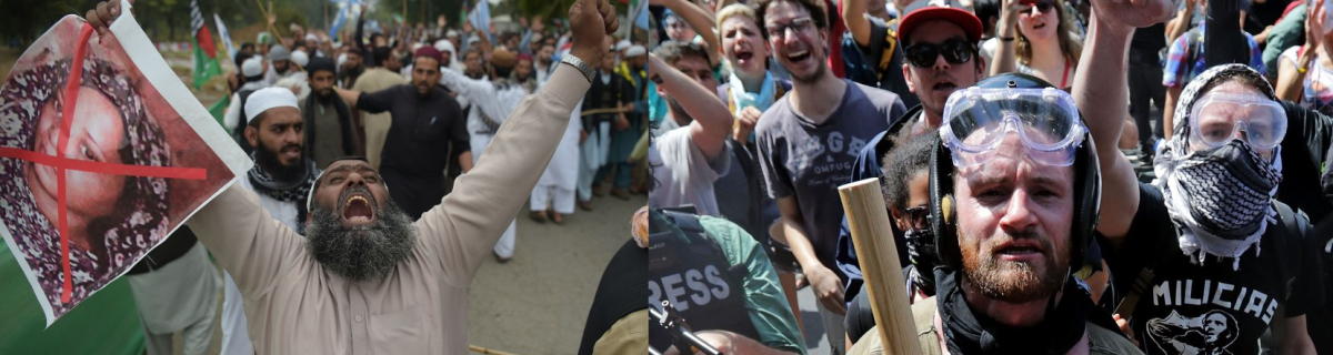 Courtesy of AAMIR QURESHI/AFP/Getty Images & CNN. (left) Supporters of Pakistani party Ahle Sunnat Wal Jamaat & (right)Antifa members at a protest.