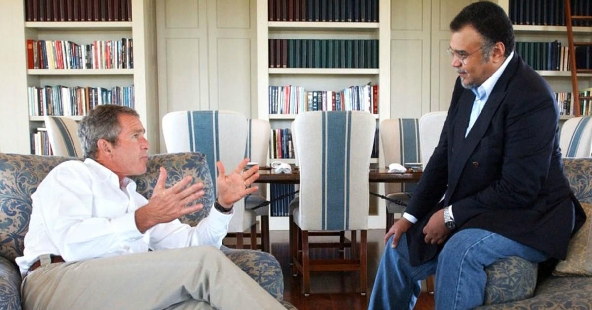 President George Bush in Crawford, Texas with Saudi Ambassador Prince Bandar bin Sultan