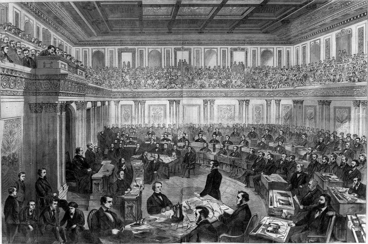 Illustration of President Johnson's impeachment trial in the Senate, published in Harper's Weekly.