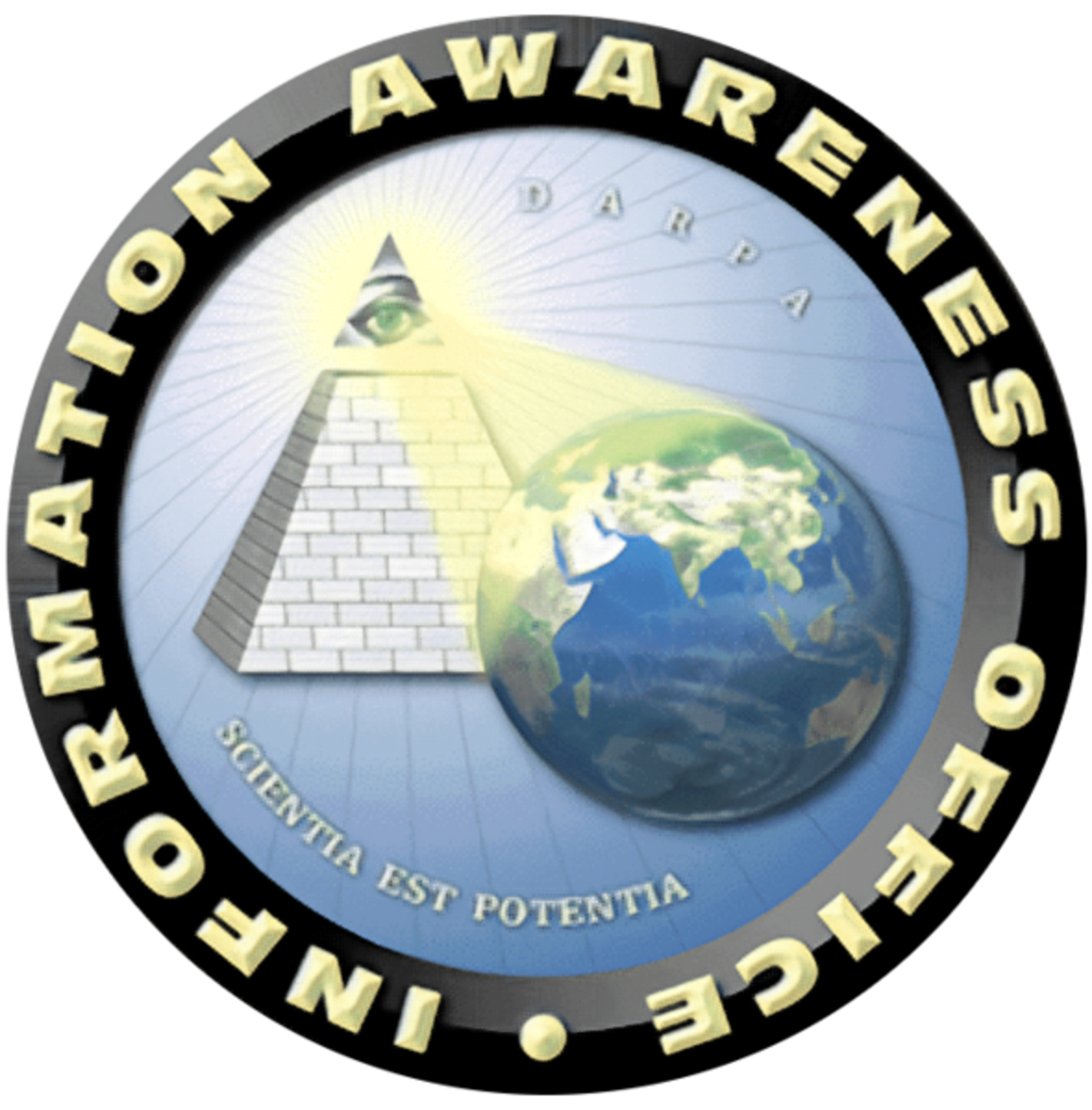 Creepy logo of the Information Awareness Office, an agency reportedly scrapped by the US government.