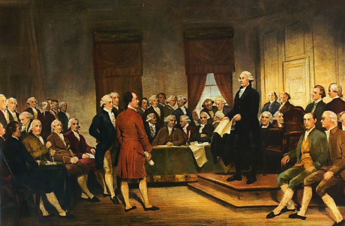 Washington at Constitutional Convention of 1787, signing of U.S. Constitution; by Junius Brutus Stearns (1856), courtesy of Wikimedia Commons