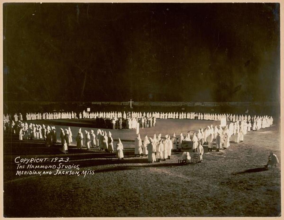 Klan initiation in Jackson, Mississippi in 1923.