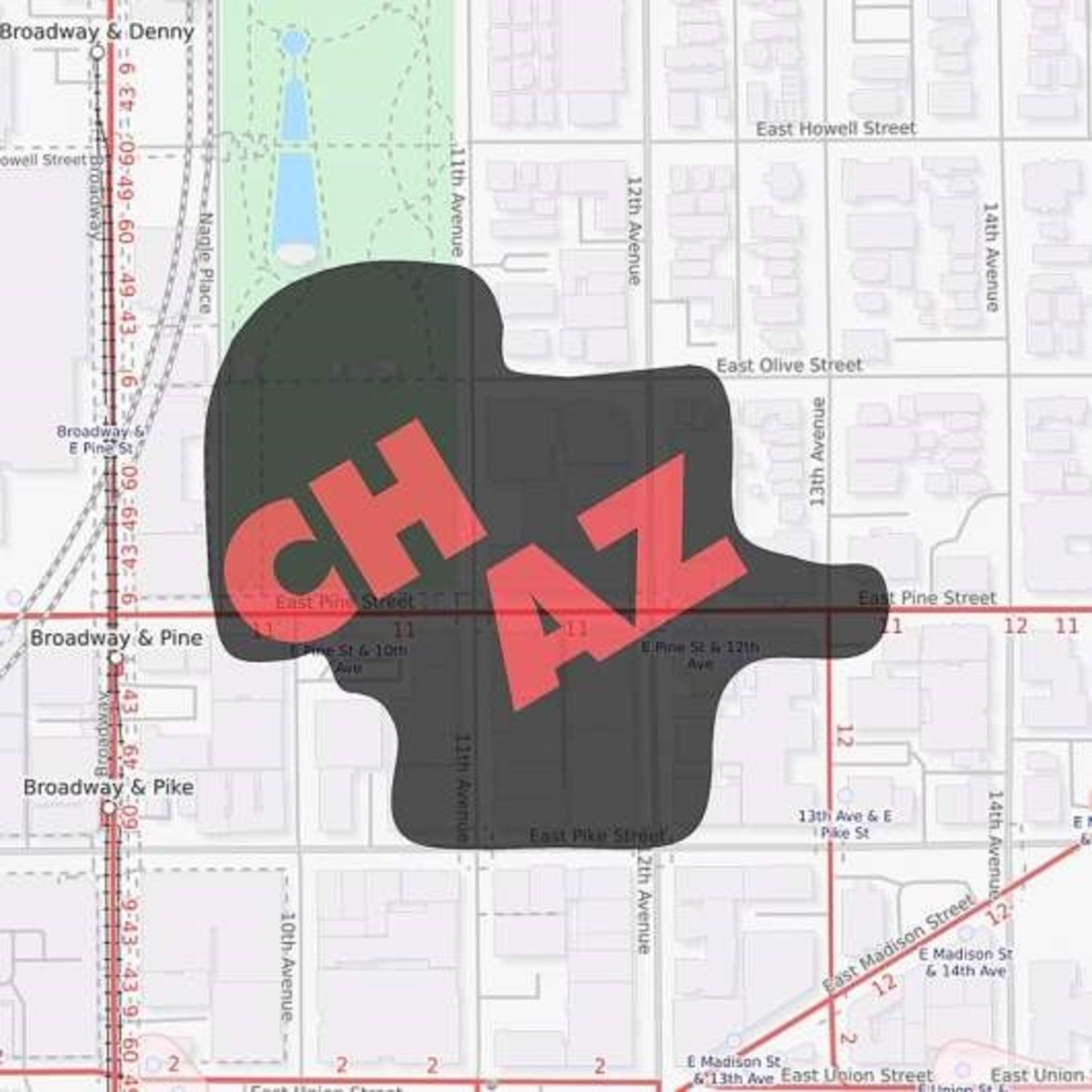 map of the CHAZ on the night of June 8th
