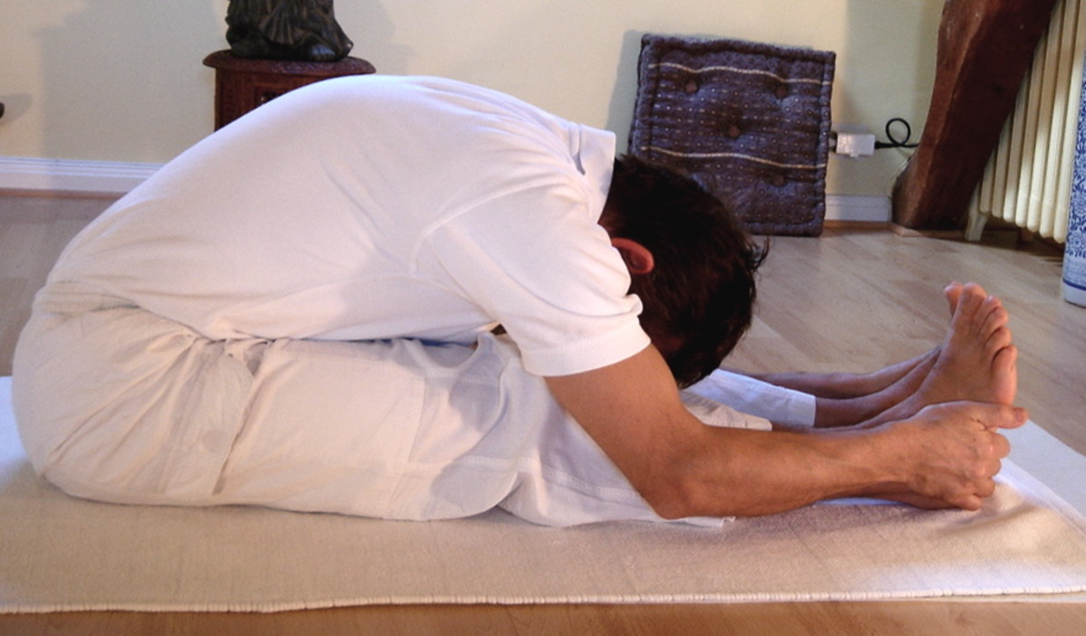 Paschimottanasana or sitting forward bend is an excellent yoga pose for stretching tight hamstrings.