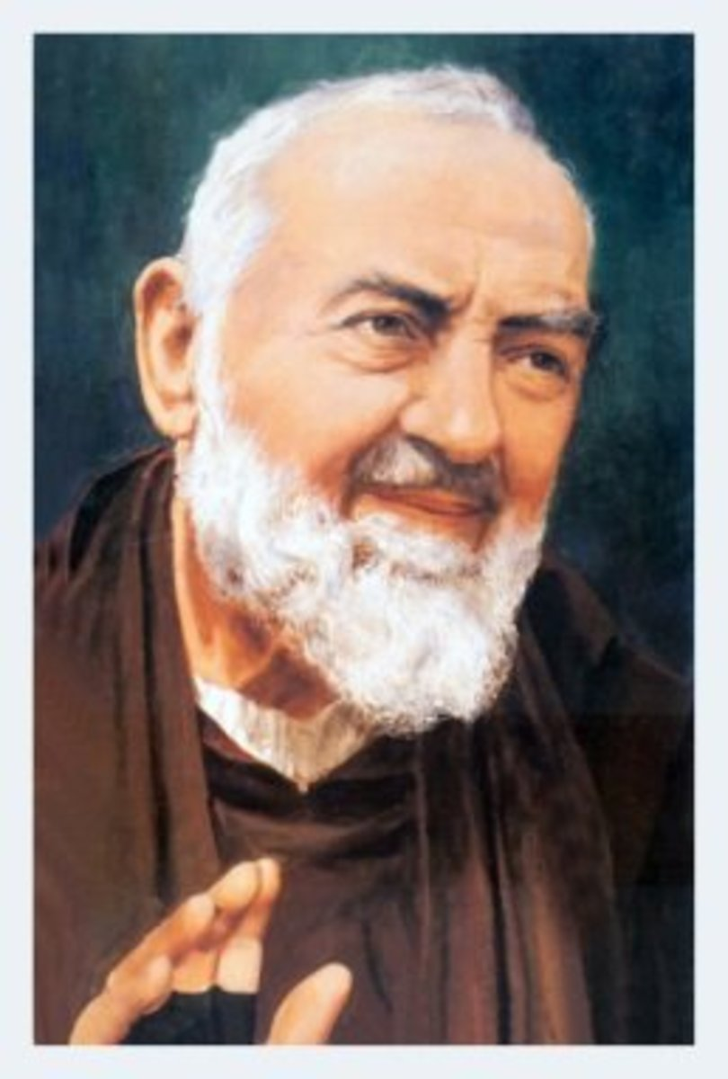 Padre Pio, modern Italian saint (1887-1968), bandaged his hands because they bled like Christ's.