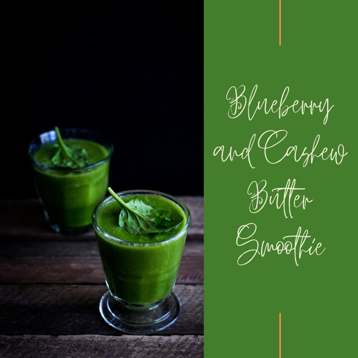 Green smoothie using cashew butter and blueberries.
