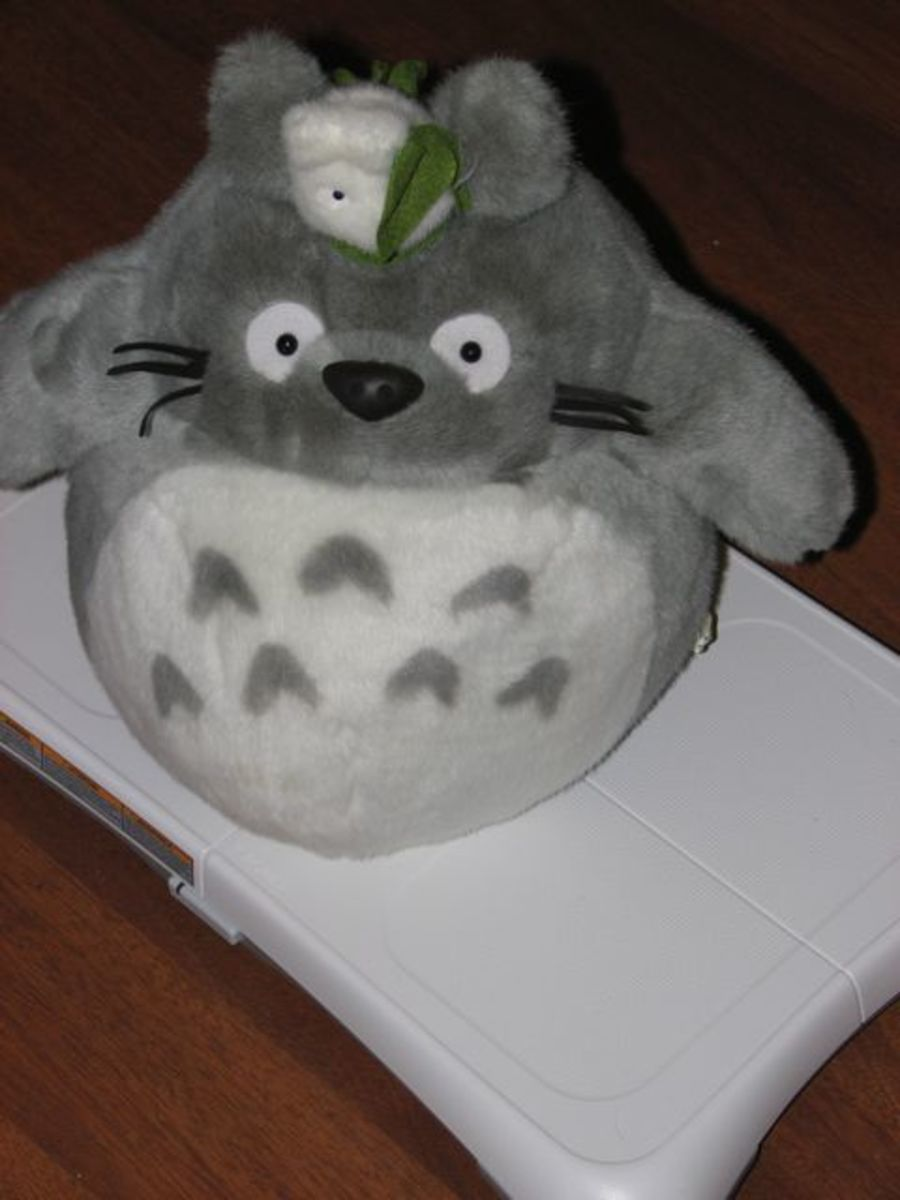 Totoro on the Wii Fit board.