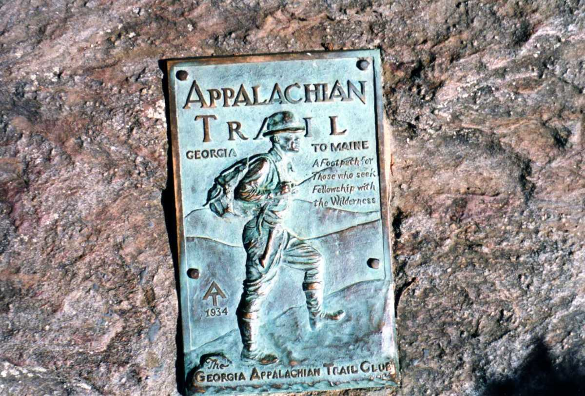 The famous plaque on Springer Mountain in Georgia.