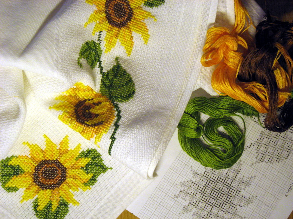 Cross-stitched sunflowers, work in progress
