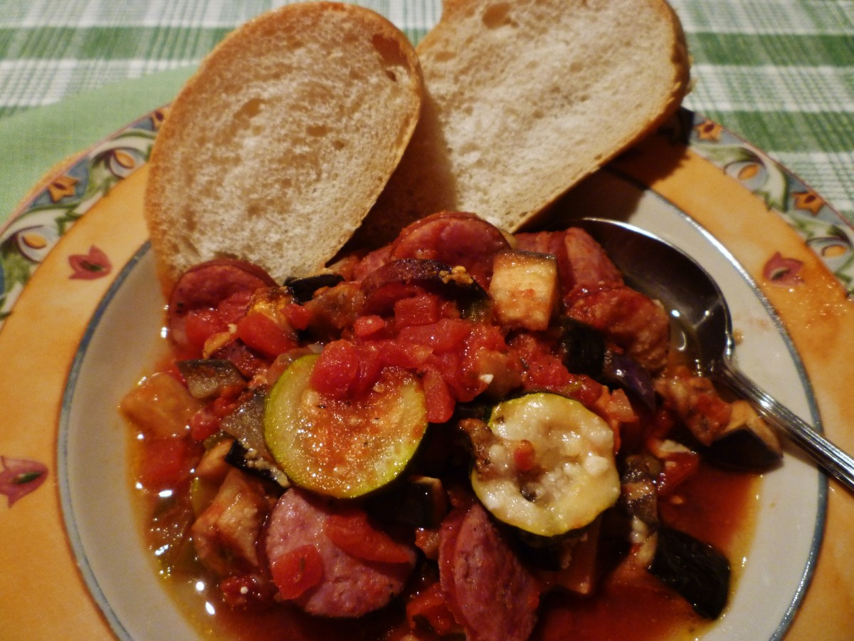 Inexpensive Easy Casserole Recipe using Sausage, Eggplant + Vegetables