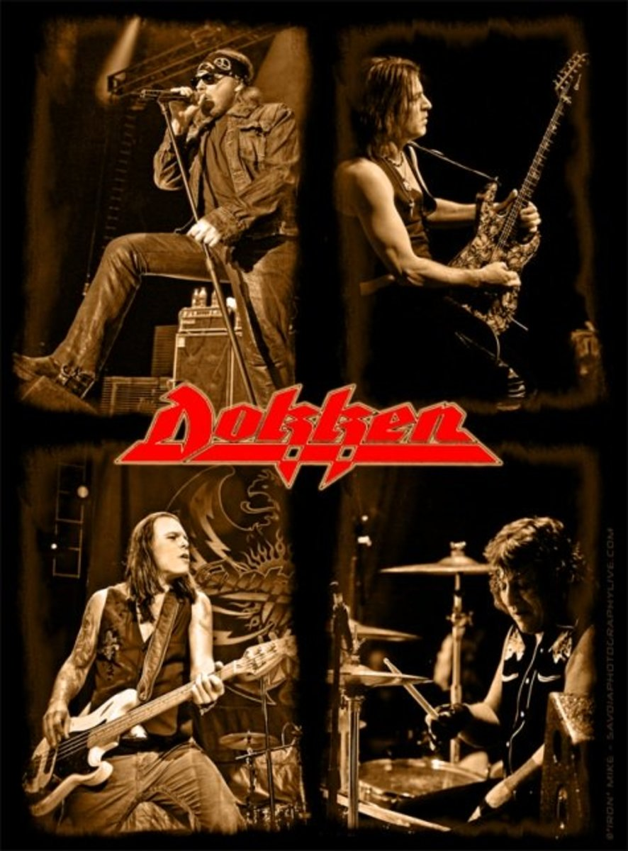 """Dokken 2012 touring lineup, clockwise from top left: Don Dokken (vocals), Jon Levin (guitar), """"Wild"""" Mick Brown (drums), Sean McNabb (bass). As of 2015, McNabb has since been replaced by Chris McCarvill."""