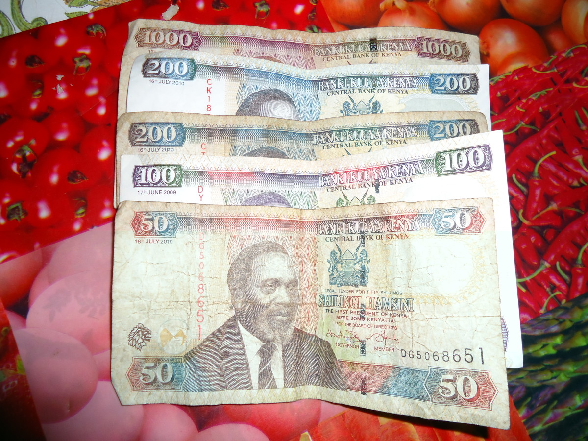 Some Kenyans notes used as a medium of exchange