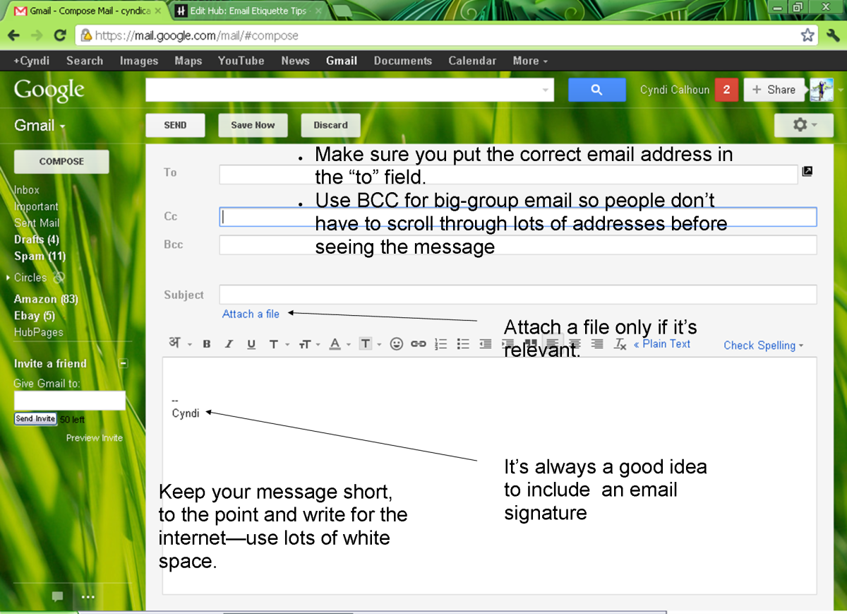 Screenshot of inbox, with helpful tips.