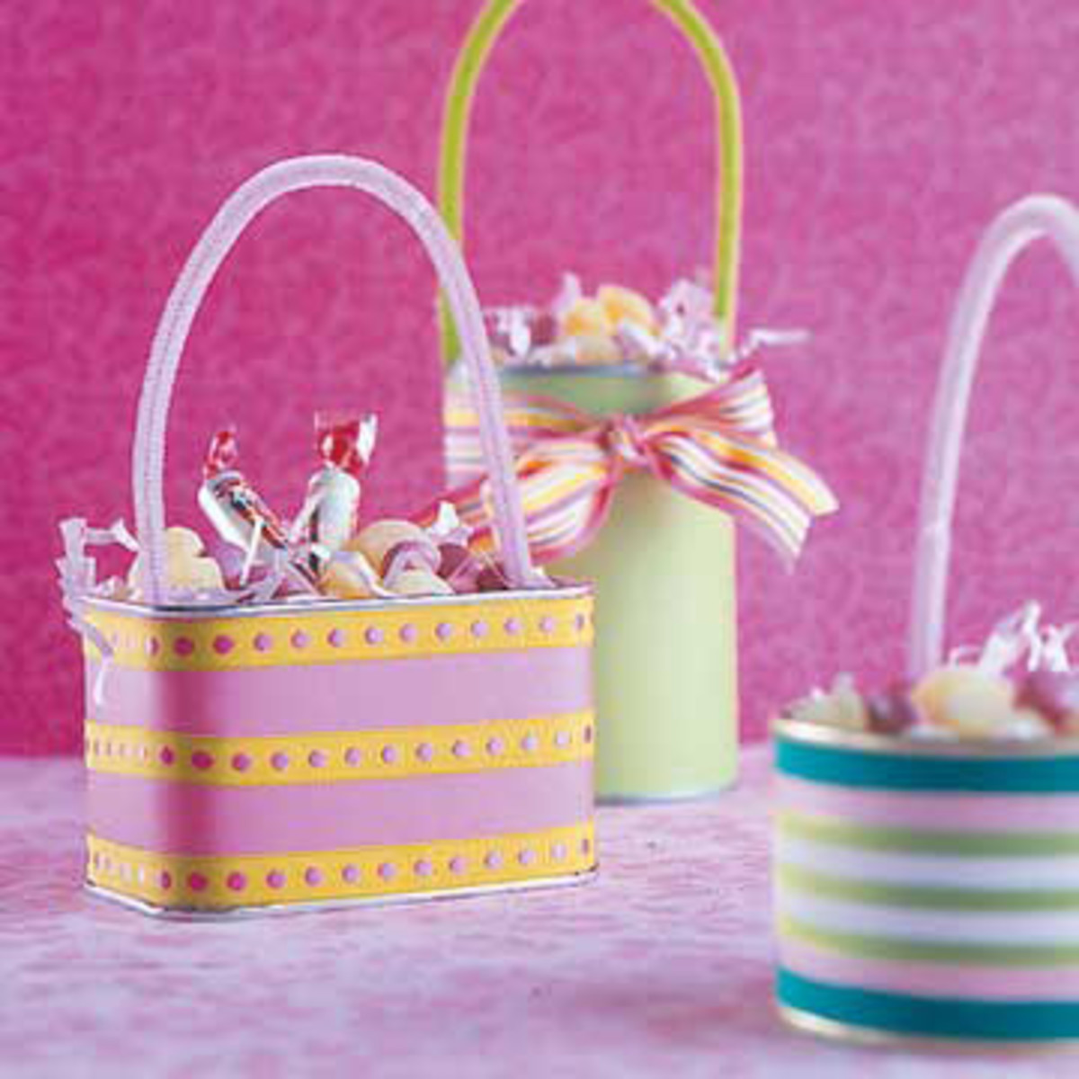 Decorated cans and tins make excellent Easter baskets.