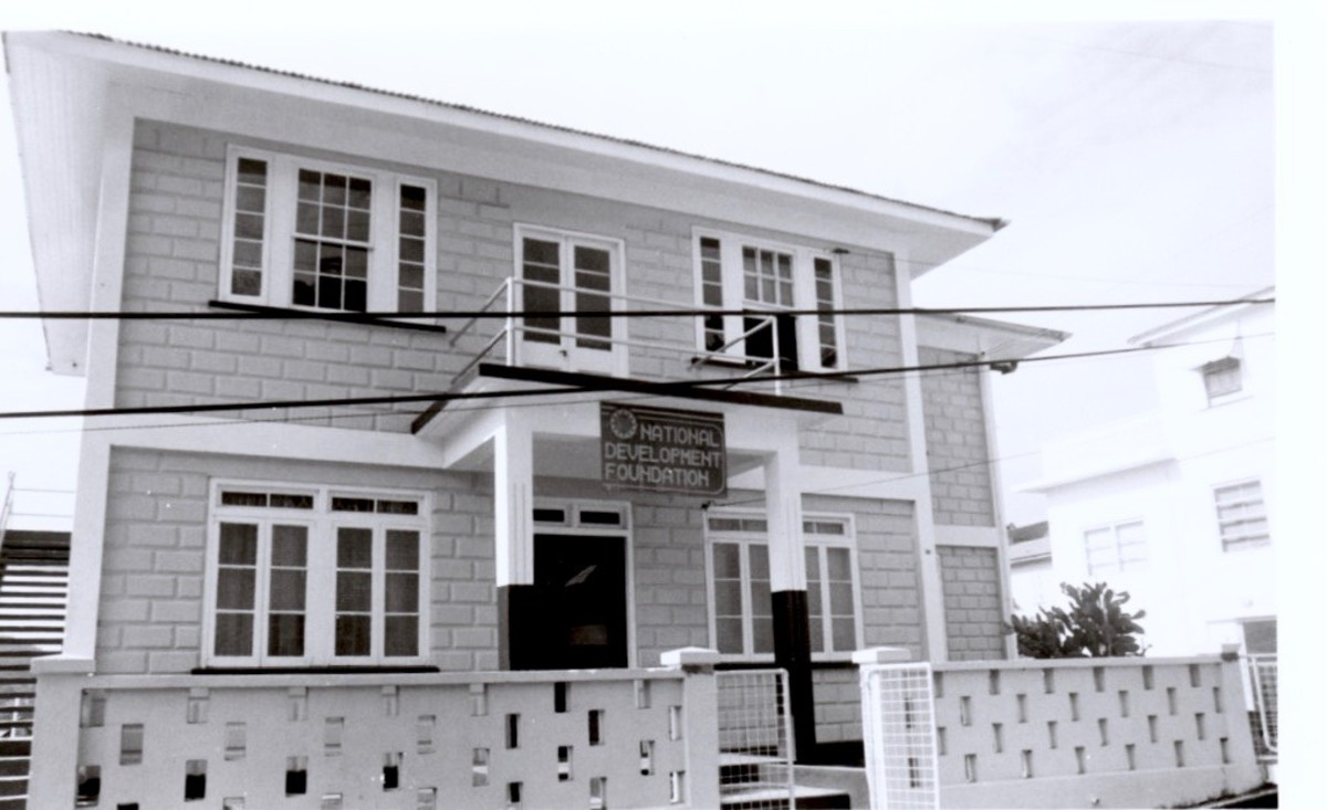 Here's our office building, once we got the sign up. It was located in St. George's near the Carenage.