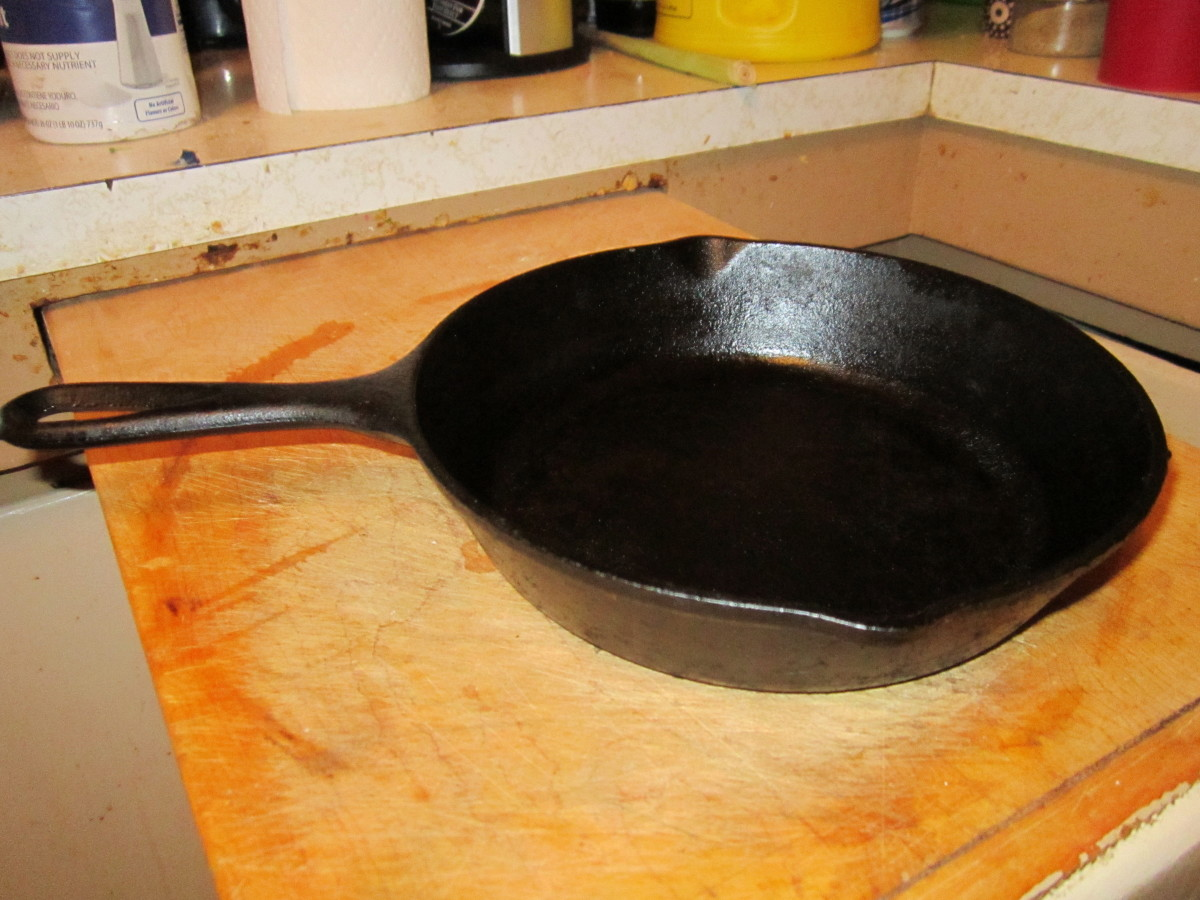 A well-seasoned cast iron skillet