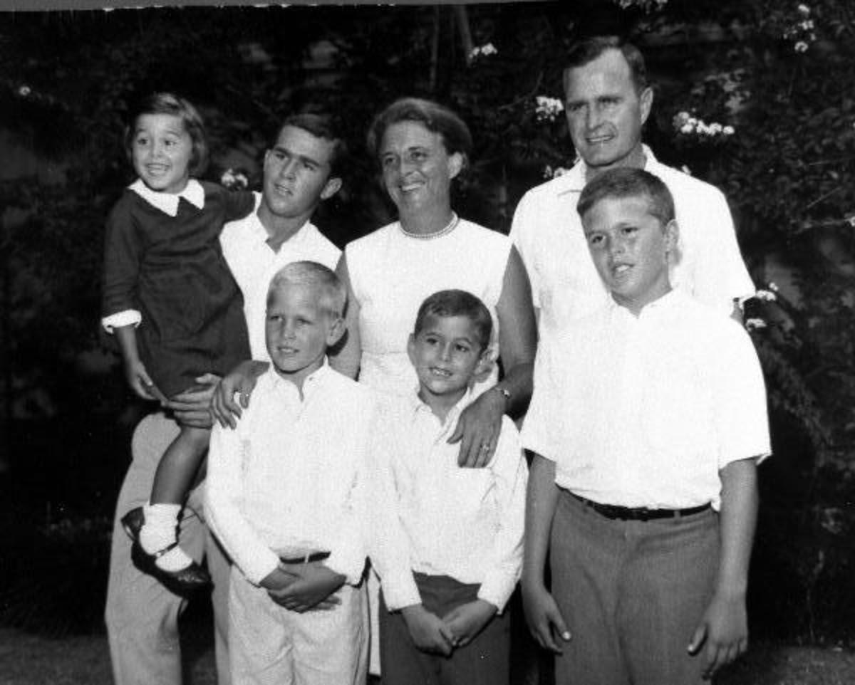 Early 1960s photo of the George and Barbara Bush family. Front: Neil, Marvin,  and Jeb. Back: Dorothy, George W., Barbara, George H.W.